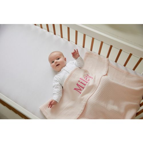 Personalized Light Pink Cellular Blanket