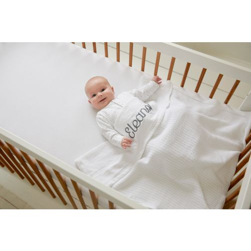 Personalized White Cellular Blanket