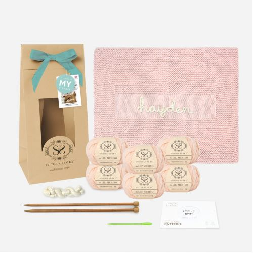 Personalise Your Own My 1st Years x Stitch & Story Pink Blanket Knitting Kit