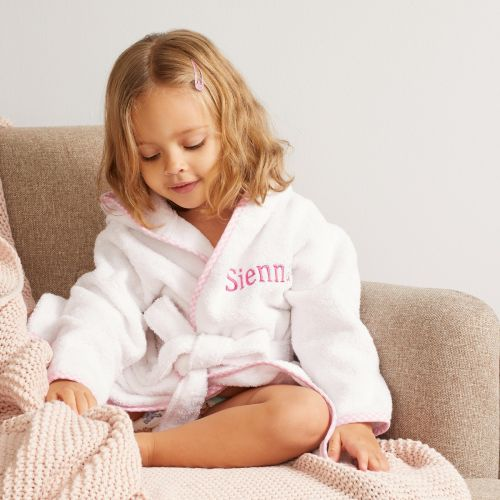Personalised Pink Trim Gingham Robe Model