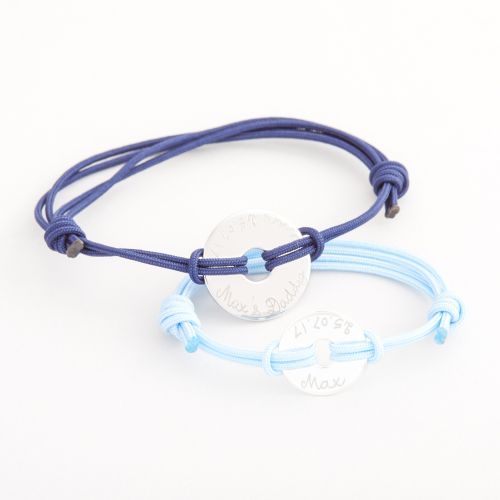 Personalised Merci Maman 'Daddy and Me' Silver Disc Bracelets Gift Set