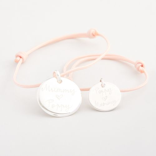 Personalised Merci Maman 'Mummy and Me' Silver Disc Bracelets Gift Set
