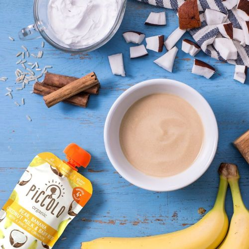 Piccolo Organic Pear, Banana, Coconut Milk & Baby Rice 100g Pouch (4 Months+)