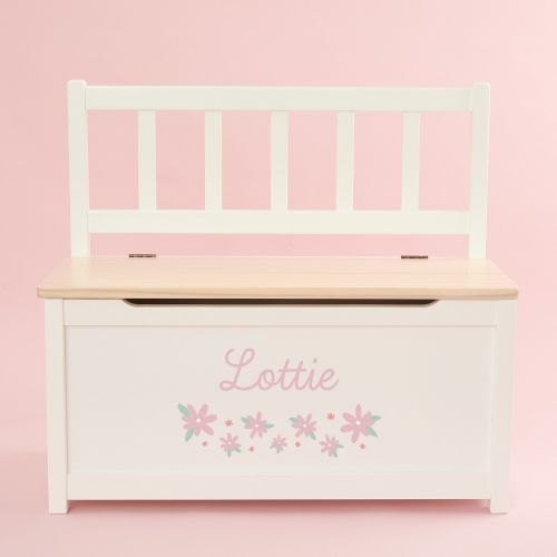 Personalised Pink Flower Design Toy Bench
