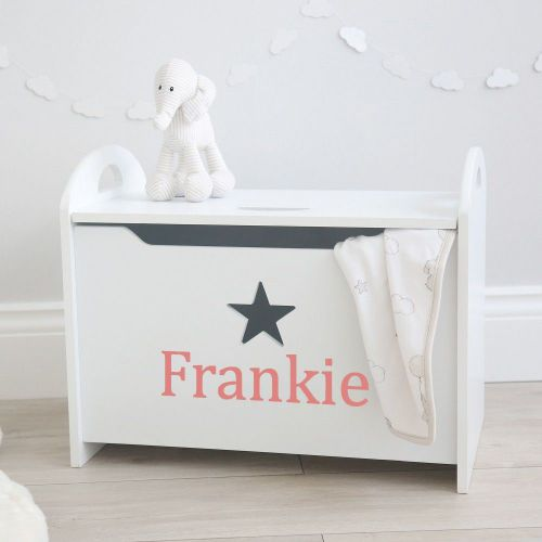 Personalised Star Toy Box Pink Font
