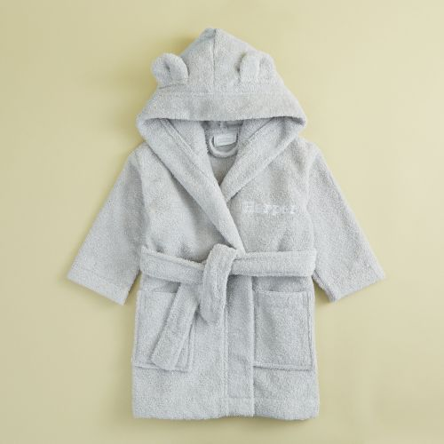 Personalised Grey Hooded Towelling Robe