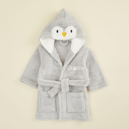 Personalized Gray Penguin Fleece Robe