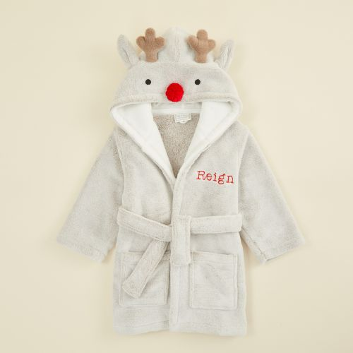 Personalized Reindeer Robe with Red Nose
