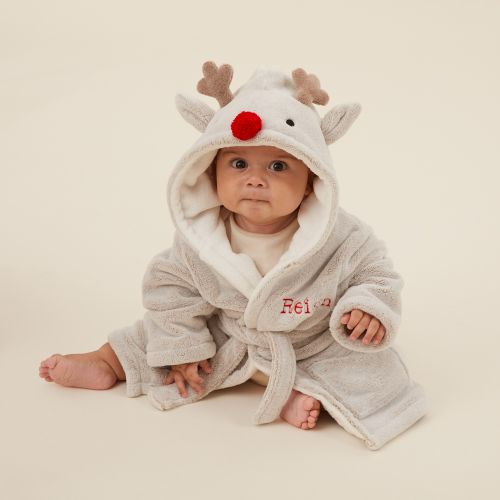 Personalised Reindeer Robe with Red Nose Model