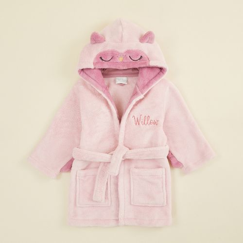 Personalised Pink Owl Robe Flat