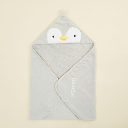 Personalised Grey Penguin Hooded Towel