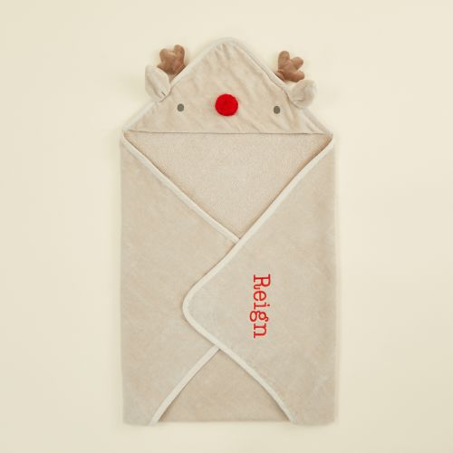 Personalised Reindeer Hooded Towel with Red Nose