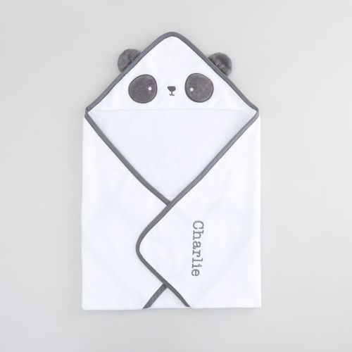 Personalized Monochrome Panda Hooded Towel