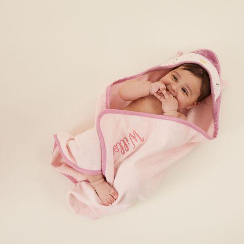 Personalised Pink Owl Hooded Towel
