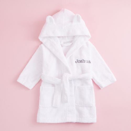 Personalized White Hooded Towelling Robe