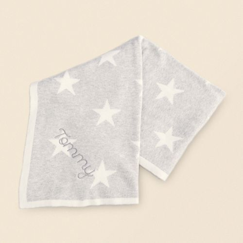 Personalised Grey Star Knit Blanket