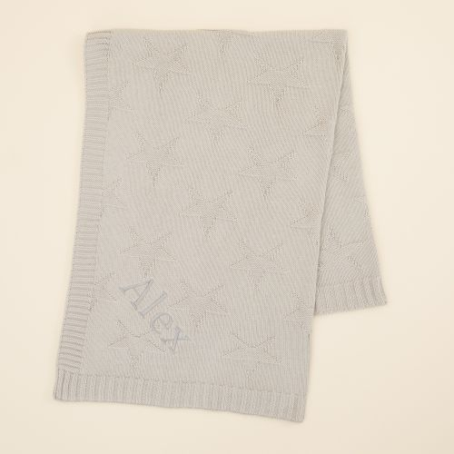Personalised Grey Star Jacquard Blanket