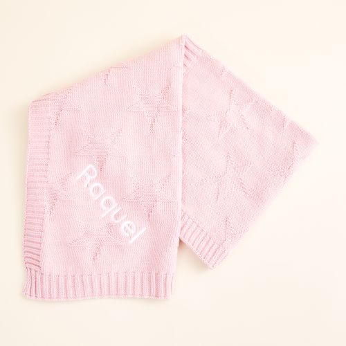 Personalised Pink Star Jacquard Blanket