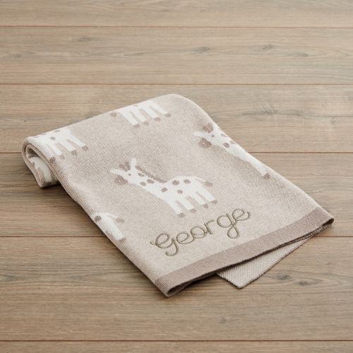 Personalised Taupe Giraffe Knitted Intarsia Blanket