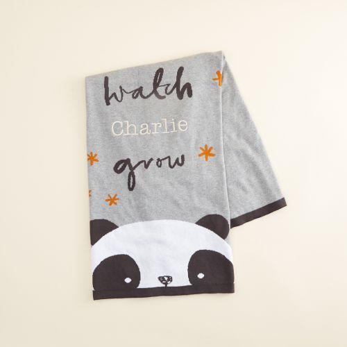 Personalized Panda Print Organic Blanket