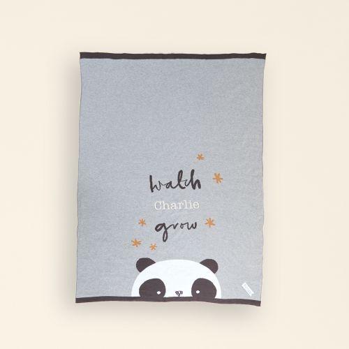 Personalised Panda Print Organic Blanket FLat