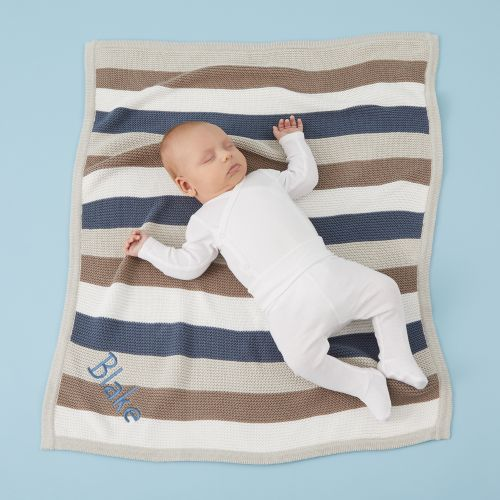 Personalized Blue Stripe Knitted Blanket Model