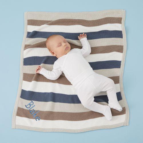 Personalised Blue Stripe Knitted Blanket Model