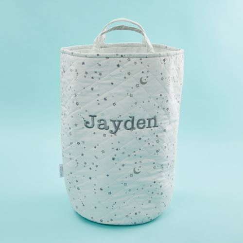 Personalized Tall Gray Star Print Storage Bag