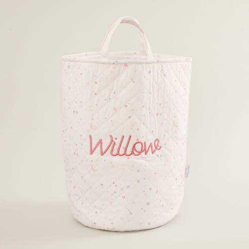 Personalised Tall Pink Star Print Storage Bag