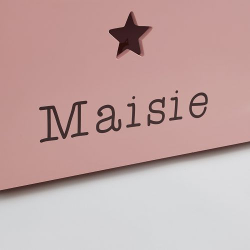 Personalised Large Pink Star Design Toy Box