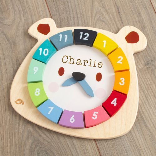 Personalised Tenderleaf Wooden Bear Clock Puzzle