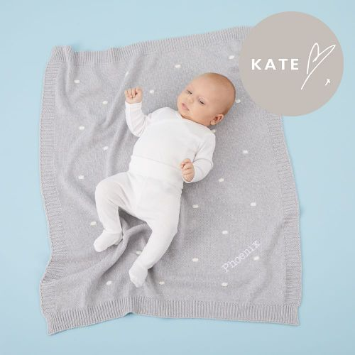 Personalised Grey and White Bobble Knitted Blanket Model