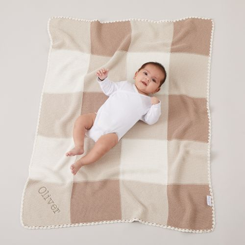 Personalized Neutral Knitted Patchwork Blanket Model