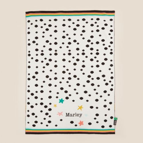 Personalised Mini Mono Polka Dot Design Intarsia Knitted Blanket
