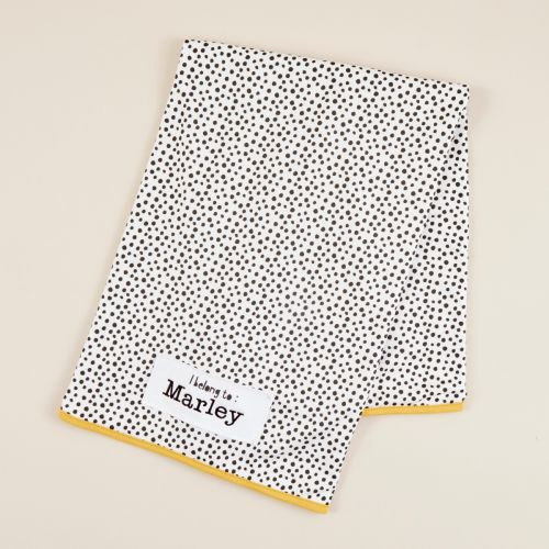 Personalised Mini Mono Polka Dot Print Organic Jersey Blanket