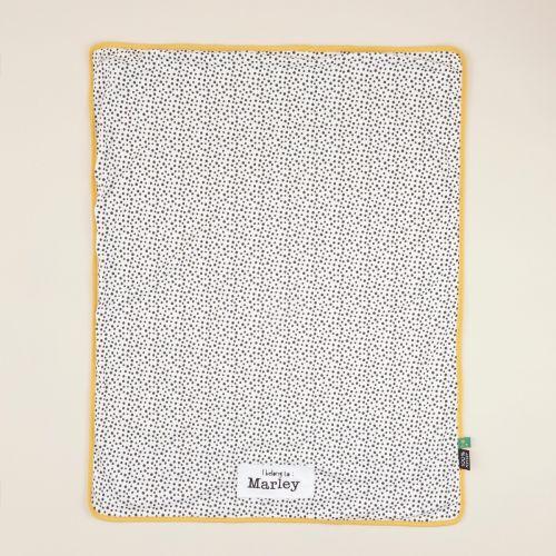 Personalized Mini Mono Polka Dot Print Organic Jersey Blanket