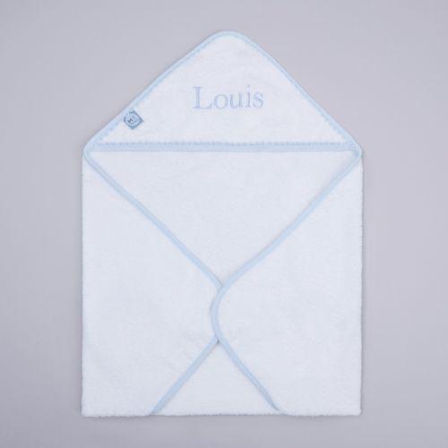Personalised Blue Picot Trim Hooded Towel