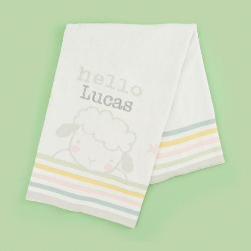 Personalized Ivory Sheep Intarsia Knitted Blanket
