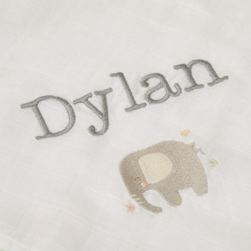 Personalised Pack of 2 Elephant Design Bamboo Blend Muslin Blankets