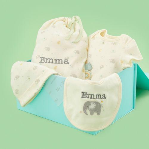 Personalised Elephant Print Organic Baby Gift Set