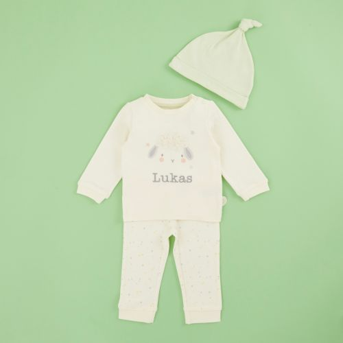 Personalized Embroidered Little Lamb Jersey Outfit Set (3 piece)