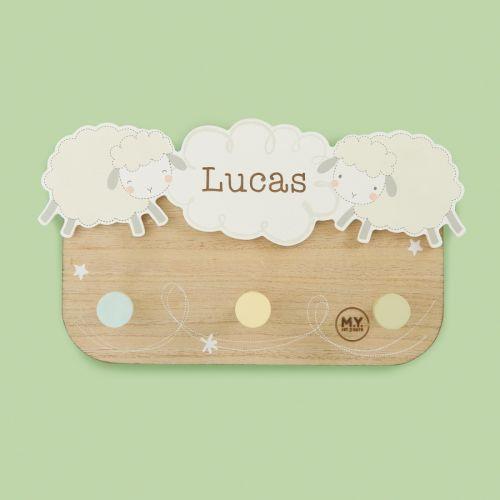 Personalised Sheep Design Children's Triple Coat Hooks