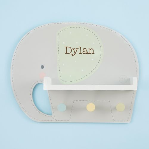 Personalised Grey Elephant Wooden Shelf with Hooks