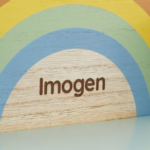 Personalized Rainbow Wooden Shelf with Hooks