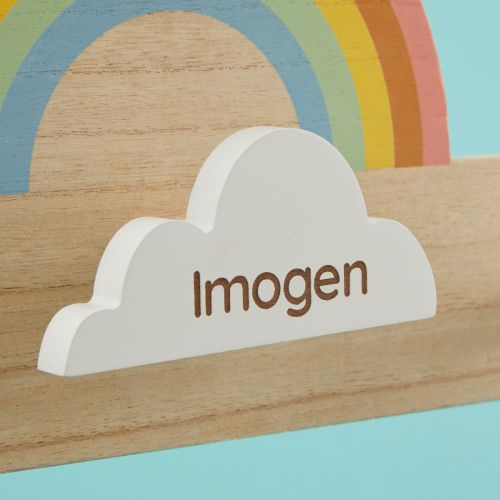 Personalized Rainbow Wooden Children's Triple Coat Hooks