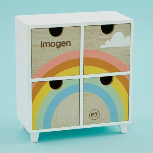 Personalized Rainbow Wooden Mini Keepsake Drawers