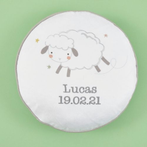 Personalized Little Lamb Pom Pom Cushion