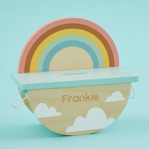 Personalised Rainbow Design Rocking Money Box