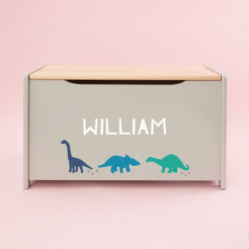 Personalised Grey Dino Toy Box