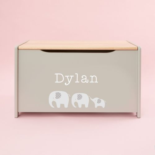 Personalised Grey Elephant Toy Box
